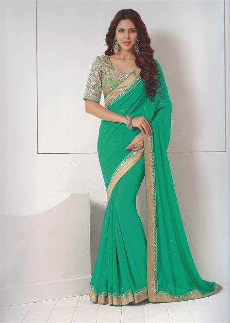Harga Sari Gold sea green gold sequins mesh sari