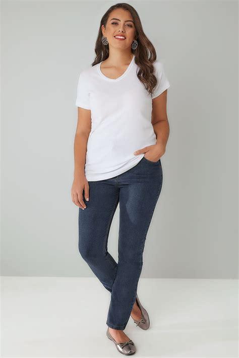 Jean Coupe Droite Denim Bleu 5 Poches Grandes Tailles 16 à 30