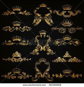 Set Gold Monogram Graphic Design On Stock Vector 362365958 ...
