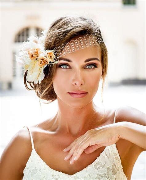 bandeau style birdcage veil  bride hair jewelry