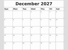 August 2027 Calendar