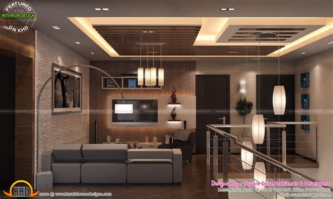 Stair Area, Upper Living, Bedroom Interiors  Kerala Home