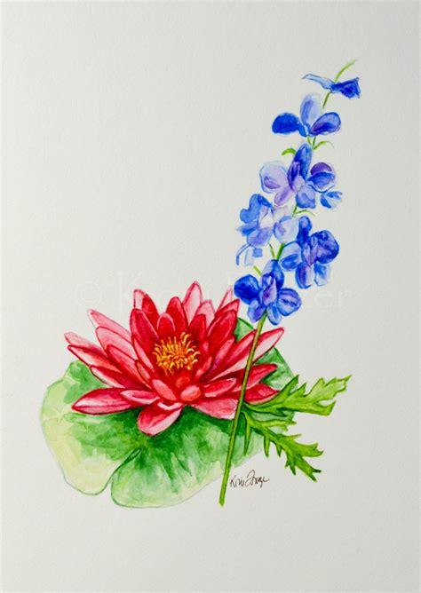 water lily  larkspur july birthday flower original