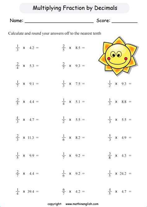multiply decimals  fractions printable grade  math
