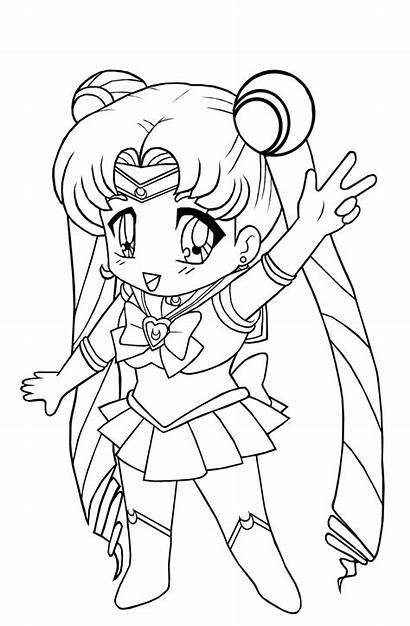 Coloring Pages Sailor Moon Luna Chibi Ages