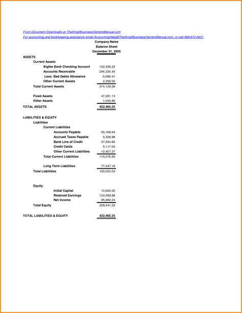 simple balance sheet example simple balance sheet example authorization letter pdf
