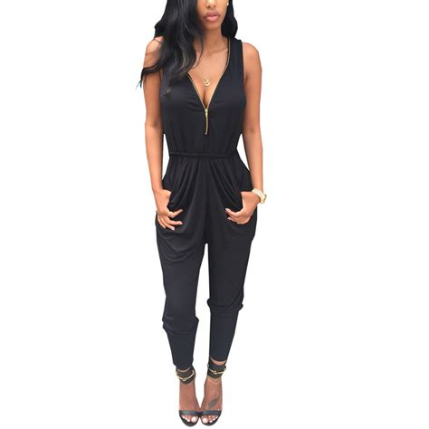 Sleeveless Overall black rompers womens jumpsuit for overalls