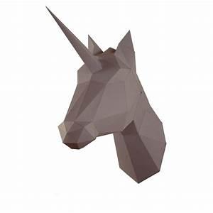 Trophée Animaux Origami : troph e origami en papier licorne marron d co origami paper et sweet home ~ Teatrodelosmanantiales.com Idées de Décoration