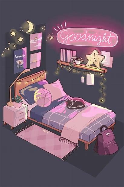 Bedroom Night Retro Trendy Simple