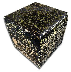 Cowhide Ottoman Cube by Metallic Cowhide Ottoman Gold Metallic On Black Cow Hide