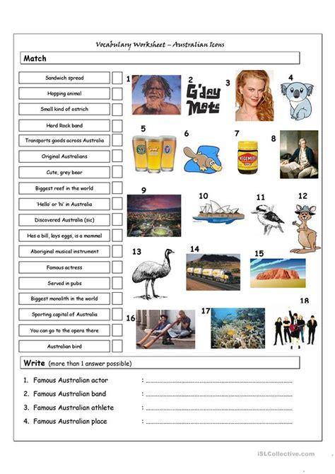 vocabulary matching worksheet quiz australian icons