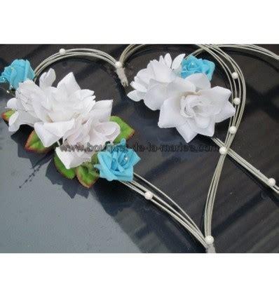 deco mariage blanc et bleu turquoise d 233 coration voiture mariage quot cœurs quot bleu turquoise blanc et argent bouquet de la mariee