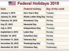 2019 Printable calendar with US & UK Holidays 2019