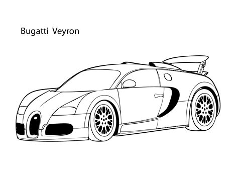 Super Car Buggati Veyron Coloring Page, Cool Car Printable