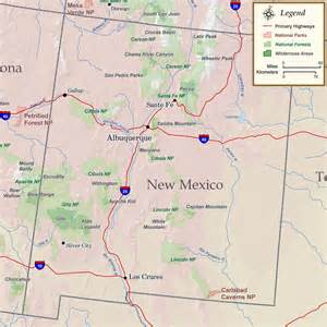 Map of the Rockies Mountains in New Mexico