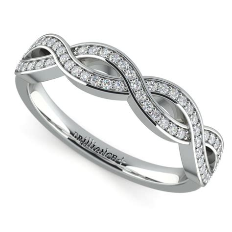 infinity twist diamond wedding ring in platinum