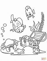 Treasure Coloring Chest Sea Bottom Pages Underwater Under Printable Fish Pirate Drawing sketch template