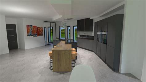 cuisine anthracite et bois cuisine gris anthracite bois et cuivre avec îlot design