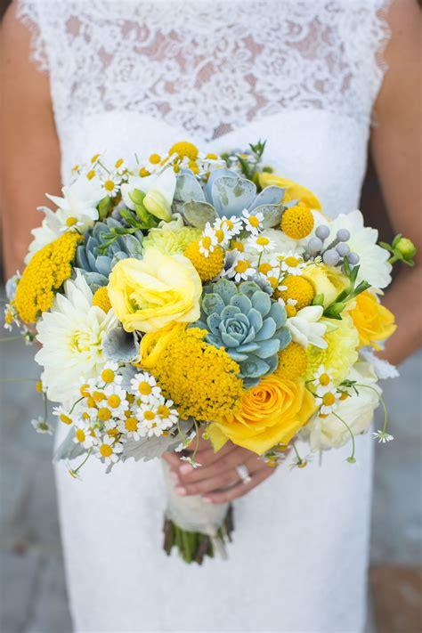 Yellow Succulent Bridal Bouquet Succulents Chamomile
