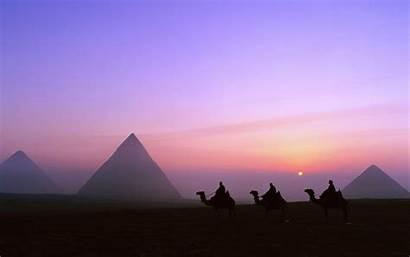 Ancient Architecture Egypt History Sunset Pyramids Giza