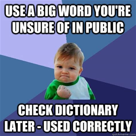 Big Words Meme - use a big word you re unsure of in public check dictionary later used correctly success kid