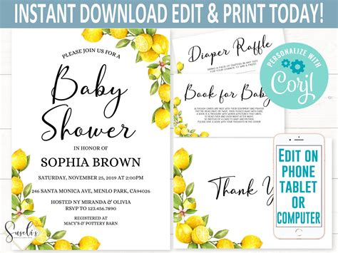 EDITABLE Lemon Baby Shower Invitation Bundle Corjl