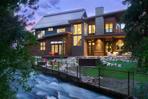 inviting mountain modern home nestled creekside