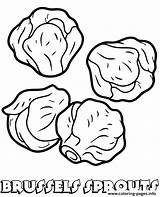 Sprouts Coloring Brussels Vegetable Printable Template sketch template