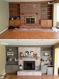cool brick fireplace makeover ideas modern living room ...