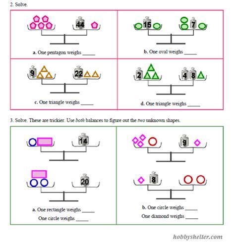 pan balance problems kiddo shelter math worksheets for