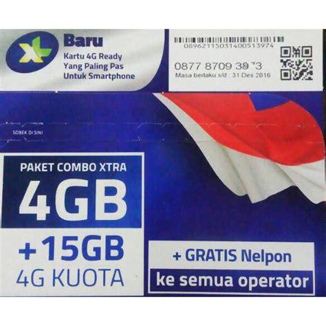 perdana xl gb by starcomsel kartu perdana xl combo xtra kuota 4gb 15gb 75