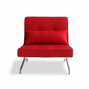 Banquette Convertible 1 Place : fauteuil convertible bz marco 1 place couleur r achat vente bz tissu 100 poylester acier ~ Teatrodelosmanantiales.com Idées de Décoration