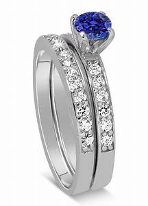 150 carat vintage round cut blue sapphire and diamond With diamond and sapphire wedding ring sets
