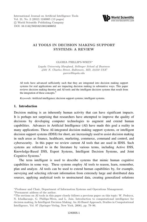 (PDF) Ai Tools in Decision Making Support Systems: a Review