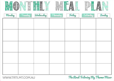 printable monthly meal planner template home