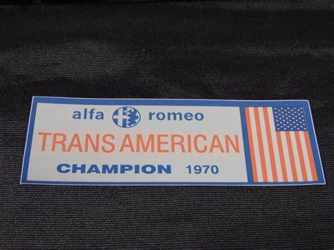 Alfa Romeo Transamerican 1970 Champion Flag Window Decal