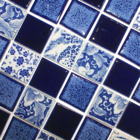 porcelain pool tiles floor blue  white tile square