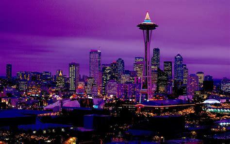 Seattle City Lights at Night Wallpaper