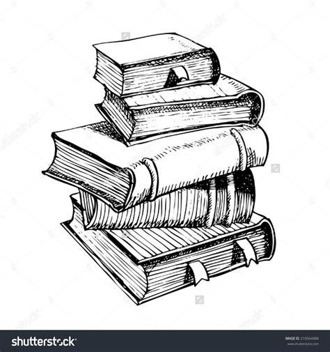 drawing  pile  books stock vector illustration