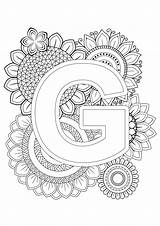 Coloring Mindfulness Alphabet Letter Letters sketch template