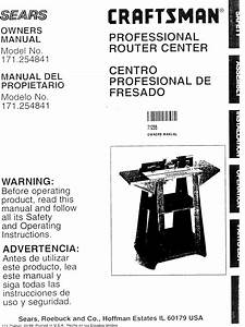 Craftsman 17125484 User Manual Router Table Manuals And