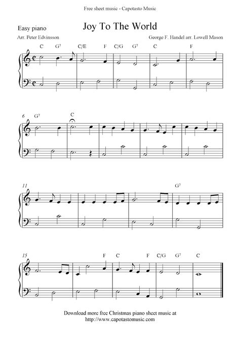 When you look at sheet music, the top staff shows you what notes are played with the right hand and the bottom staff shows you what should be played with the left hand. Easy free Christmas piano sheet music notes, Joy To The World
