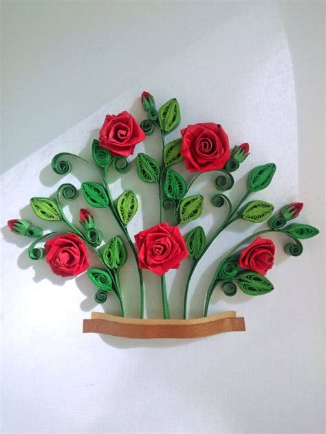 red roses bush quilling paper art quilling ot