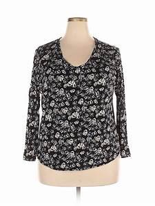 Simply Vera Vera Wang 100 Rayon Black Long Sleeve Top