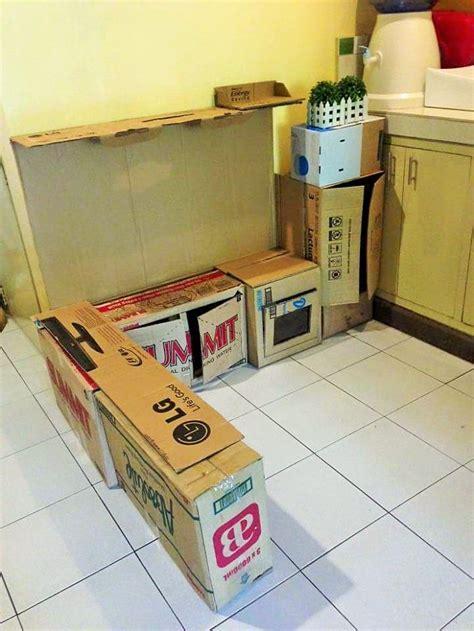 idee de genie cuisine cómo crear una pequeña cocina de cartón para tus hijos