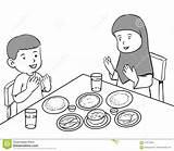 Muslim Meal Cartoon Praying Having Coloring Vector Meals Preview sketch template