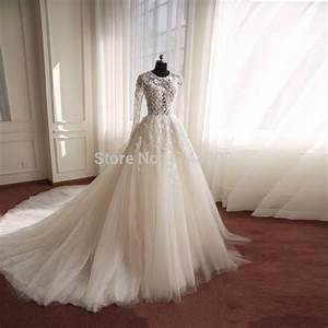 Fashion style long sleeves illusion tulle cheap wedding for Wedding dresses with sleeves cheap