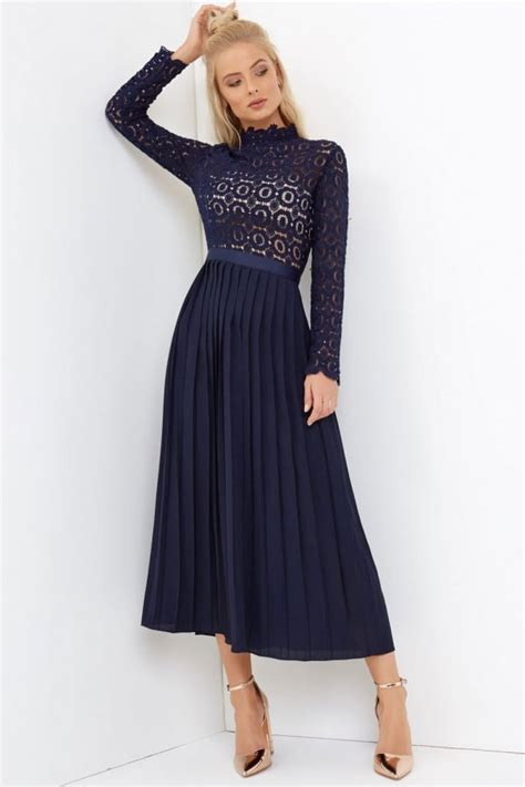 lace panel pleated dress navy crochet lace midi dress with pleated skirt elsie 39 s