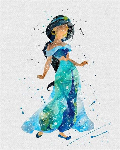jasmine disney color silhouettes watercolor disney
