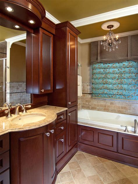 dark wood cabinetry adds elegance   traditional